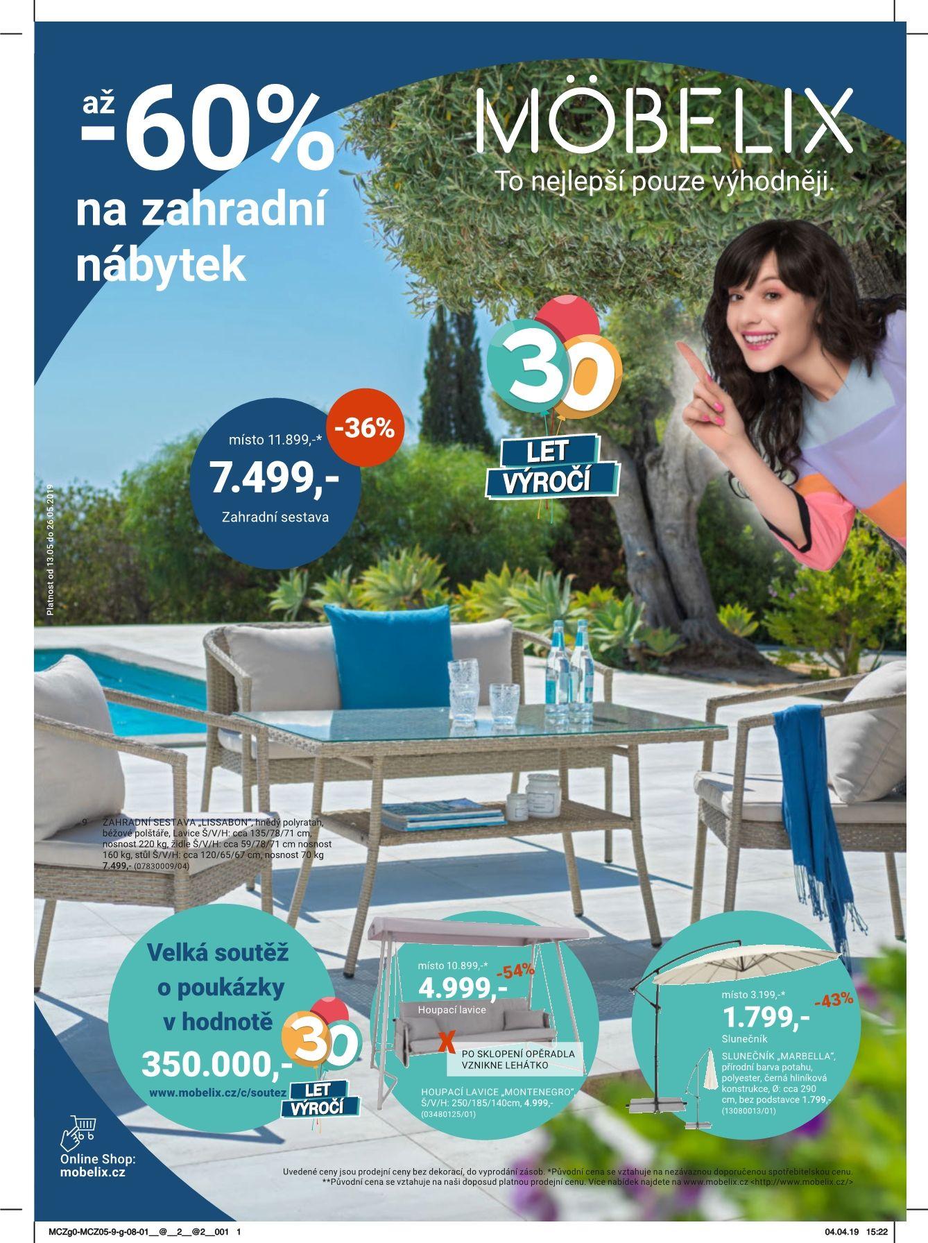 až -60% na zahradní nábytek