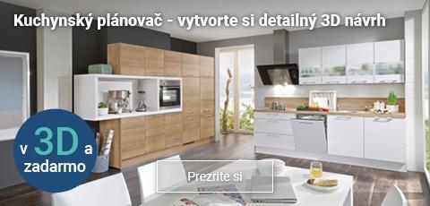 Online 3D plánovač kuchyní zadarmo. Vytvorte si detailný návrh vašej novej, modernej kuchyne.