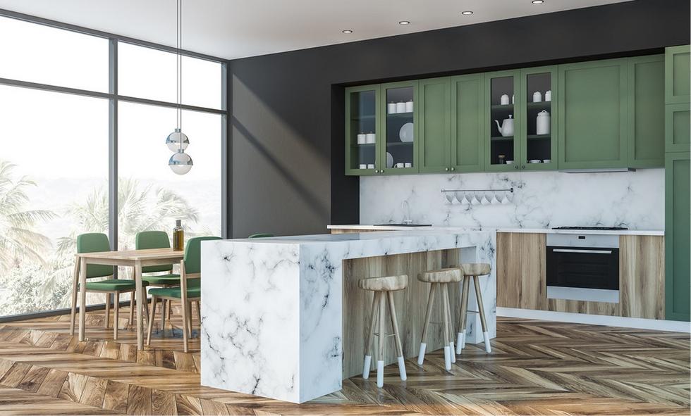 Kuchyň v lovecké zelené barvě
