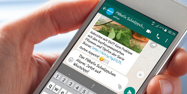 Handy mit geöffnetem Möbelix Schnäppchen Alarm auf Whatsapp.jpg