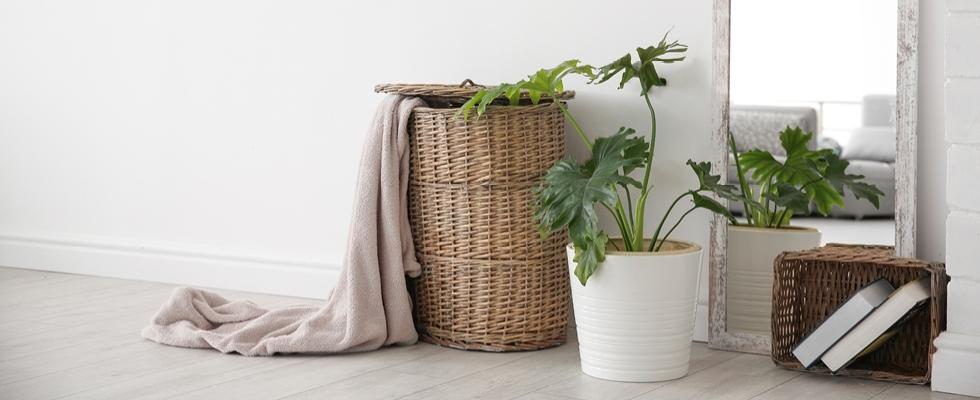 Ako využiť prútené koše v interiéri