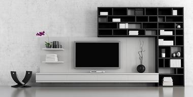 Reduzierte, schwarz-weiße Wohnwand mit Bücherregal.jpg