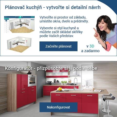 Plánovač kuchyní - vytvořte si detailní návrh v 3D a zdarma. Kuchyň. Konfigurátor kuchyní - přizpůsobte si ji podle sebe.