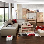 Moderne Wohnzimmereinrichtung im Naturlook bei Möbelix