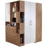 Eckschrank Box B:120cm Artisan Eiche - Eichefarben/Weiß, MODERN, Holzwerkstoff (120/205/150cm) - Ombra