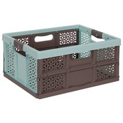 Klappbox Lea - Taupe/Hellblau, Kunststoff (48/34,5/23,5cm)