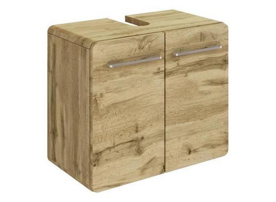 Waschbeckenunterschrank Faro B: 60 cm Eiche Dekor - Eichefarben, Basics, Holzwerkstoff (60/52/35cm) - Livetastic