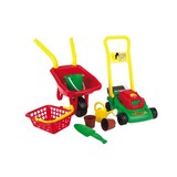 Kinderschubkarre mit Gartenset 8-teilig - Gelb/Rot, MODERN, Kunststoff (65/28/38cm)