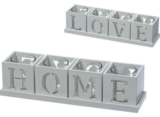 Držák Na Čajovou Svíčku Home & Love - bílá, kompozitní dřevo/sklo (30/7,5/7,5cm) - Modern Living