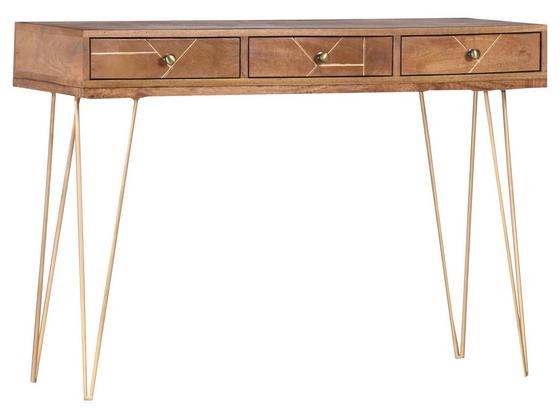 Odkladací Stolík Scan - prírodné farby/zlatá, Design, kov/drevo (115/82/43cm)