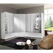 Eckkleiderschrank Imago B: ca. 95 cm - Weiß, KONVENTIONELL, Glas/Holzwerkstoff (95/198/95cm) - Xora
