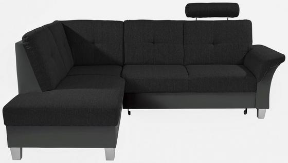 Sedací Souprava Portland - černá/tmavě šedá, Konvenční, kov/dřevo (196/245cm)