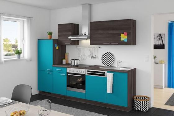 Küchenzeile Win/plan 280 cm Türkis/eiche Grau - Türkis/Eichefarben, MODERN, Holzwerkstoff (280cm) - Express