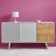 Komoda Evlyn - bílá/šedá, Moderní, kov/dřevo (160/80/45cm) - MODERN LIVING