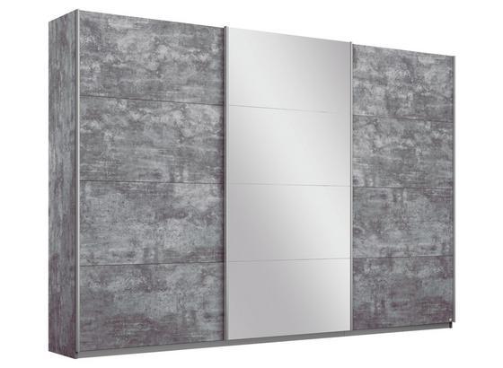 Schwebetürenschrank mit Spiegel 271cm Belluno, Grau Dekor - Grau, MODERN, Holzwerkstoff (271/210/62cm)