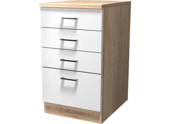 Spodná Skriňa So Zásuvkami Samoa  Ussa 50 - farby dubu/biela, Konvenčný, kompozitné drevo (50/85/57cm)