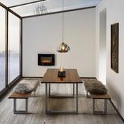 Jídelní Stůl Mailo - světle šedá/barvy akácie, Moderní, kov/dřevo (160/85/75cm) - Modern Living
