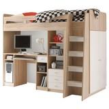 Stauraumbett Unit 90x200 inkl. Schreibtisch und Leiter - Eichefarben/Weiß, MODERN, Holzwerkstoff (90/200cm) - MID.YOU