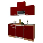 Miniküche Economy 150 cm Rot - Eichefarben/Rot, KONVENTIONELL, Holzwerkstoff (150cm) - MID.YOU