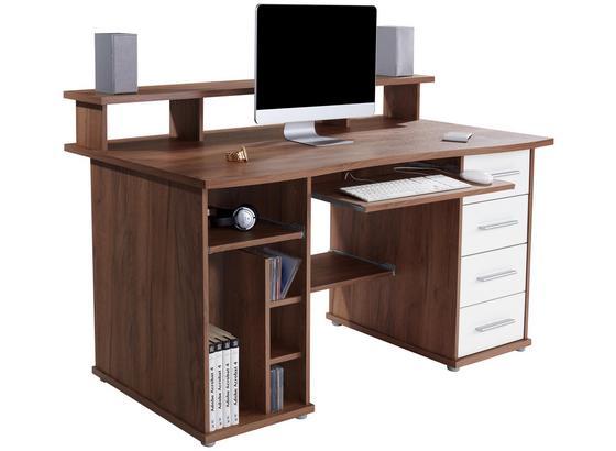 Schreibtisch mit Stauraum + Tastaturauszug B 150cm Franz - Eichefarben/Weiß, MODERN, Holzwerkstoff (150/91/73cm)