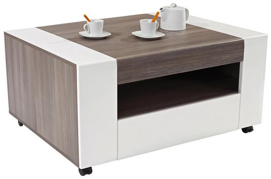 Couchtisch Toronto mit Fach in Avola Dekor - Dunkelgrau/Weiß, MODERN, Holzwerkstoff (110/48,3/75cm) - Ombra