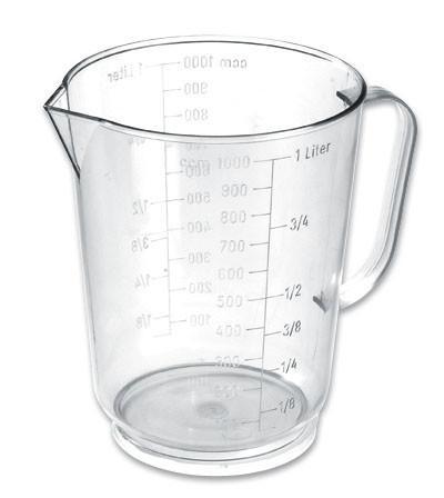 Mérőpohár 1 Liter - tiszta, konvencionális, műanyag (11.5/14.2cm)