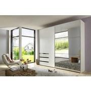 Schwebetürenschrank Level 36a B:200cm Weiß/spiegel - Weiß, MODERN, Glas/Holzwerkstoff (200/216/65cm)