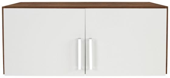 Aufsatzschrank zu Kleiderschrank Wien,91cm - Eichefarben/Weiß, KONVENTIONELL, Holzwerkstoff (91/39/54cm)