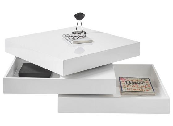 Couchtisch mit Drehbaren Ablageflächen Seattle, Weiß - Weiß, Design, Holzwerkstoff (70/70/35cm) - Carryhome
