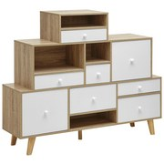 Komoda Claire - prírodné farby/biela, Moderný, drevený materiál/drevo (118/95/30cm) - Modern Living