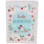 Geschenktasche Päckchenvogel Grösse L - Hellblau, Basics, Papier (25/8,5/34,5cm)
