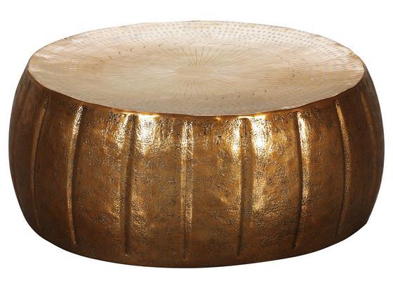 Runder Couchtisch Metall mit Ablage Jamal, Gold Dekor Ø72cm - Goldfarben, LIFESTYLE, Metall (72/72/31cm) - Livetastic