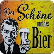Glasuntersetzer Der Schöne und Das Bier - Gelb/Schwarz, Design, Holzwerkstoff (9,5/9,5cm)