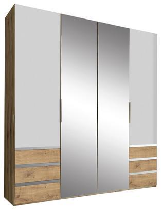 Viertüriger Schrank in Eiche Dekor und Weiß mit Spiegel