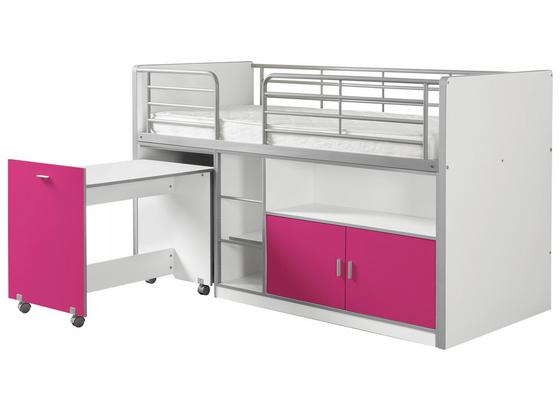 Hochbett Bonny 90x200 cm Weiß/Flieder - Flieder/Weiß, Basics, Holzwerkstoff (90/200cm) - Livetastic