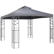 Pavillon Grau Manila ca. 3x3x2,7 M - Grau, MODERN, Kunststoff/Metall (300/300/275cm) - Luca Bessoni