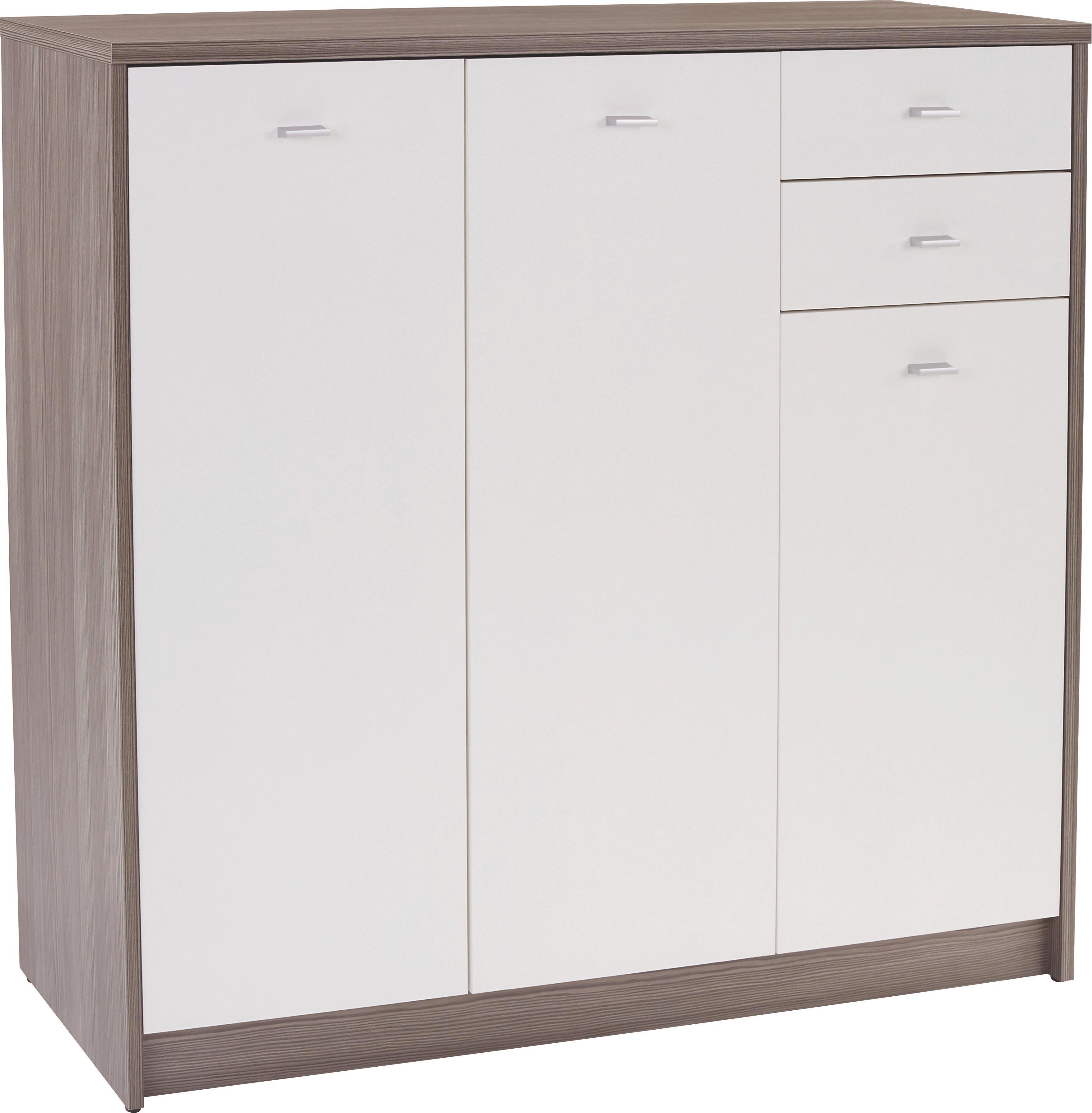Komoda 4-you Yuk09 - bílá/tmavě hnědá, Moderní, dřevěný materiál (109,1/111,4/34,6cm)