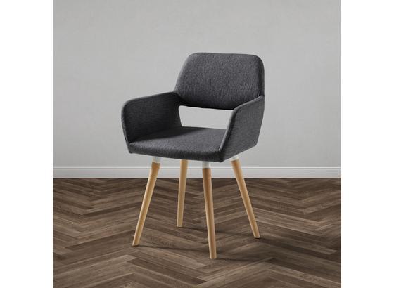 ŽIDLE S PODRUČKAMI NALA - šedá/barvy buku, Moderní, dřevo/textil (55/79/57cm) - Modern Living