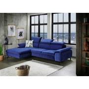 Wohnlandschaft in L-Form Brunello Blau - Blau/Schwarz, KONVENTIONELL, Textil (175/280cm) - Livetastic