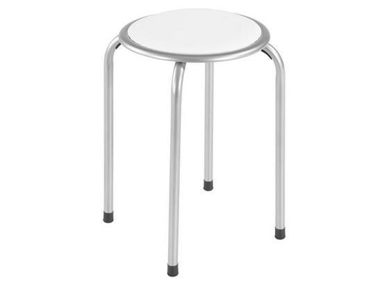 Stapelhocker Raki - Alufarben/Weiß, MODERN, Metall (30/45cm)