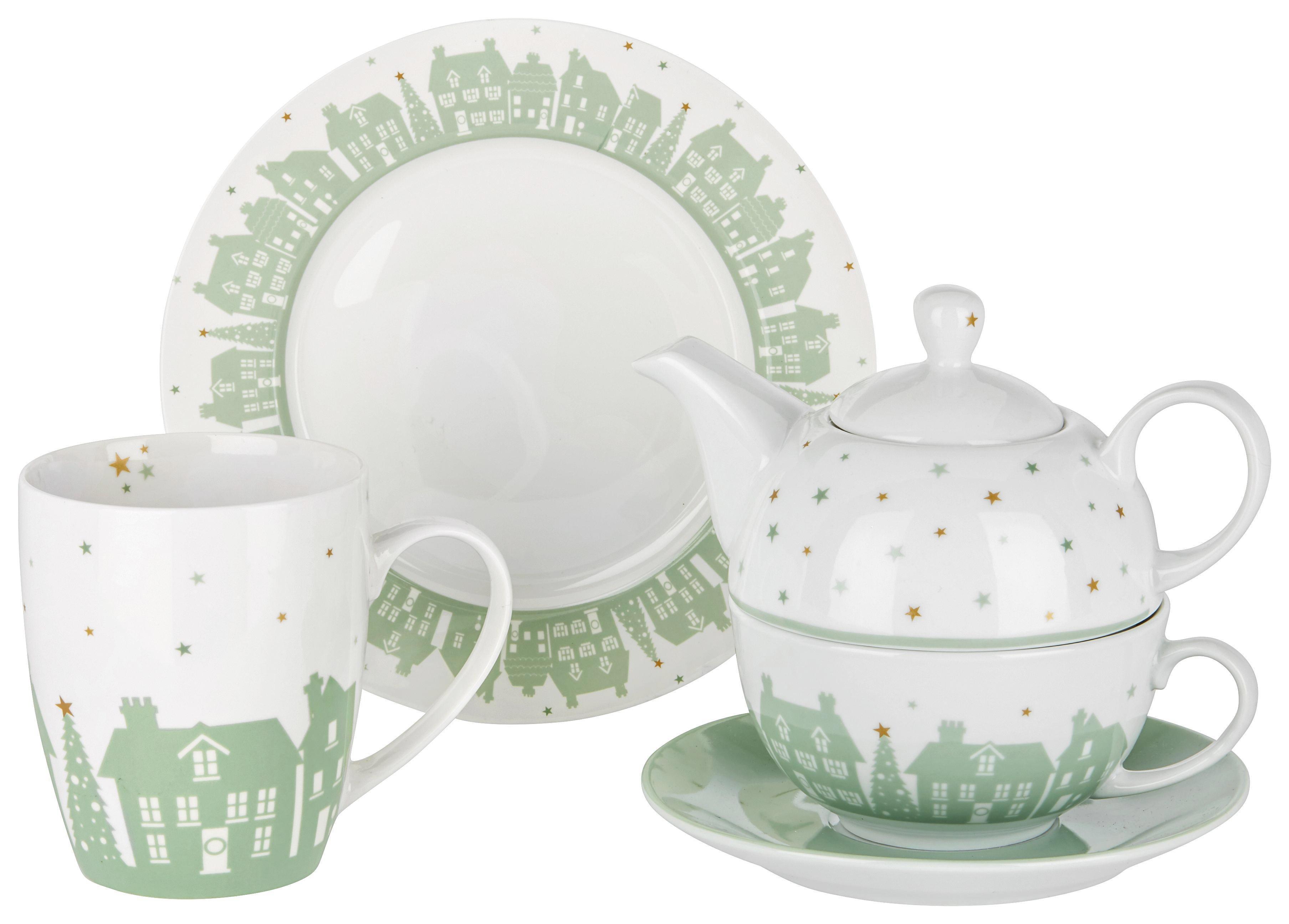 Souprava Na Čaj The City   3-dílná - bílá/mátově zelená, keramika - MÖMAX modern living