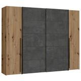 Kleiderschrank Nrgs82511-C752 Narago B: 270cm - Eichefarben/Dunkelgrau, Basics, Holzwerkstoff/Kunststoff (270/210/61cm) - MID.YOU