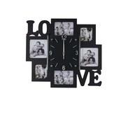 Wanduhr Love mit Bilderrahmen - Schwarz, Basics, Glas/Holzwerkstoff (42/38,7/5,2cm)