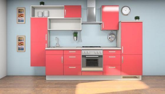 Küchenblock Jania 320 cm Rot/Weiß - Rot/Magnolie, MODERN, Holzwerkstoff (320cm) - Vertico