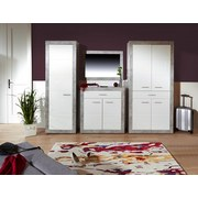 Garderobenkombination Malta Beton 2 B:255cm - Hellgrau/Weiß, MODERN, Holzwerkstoff (255/197/36cm)