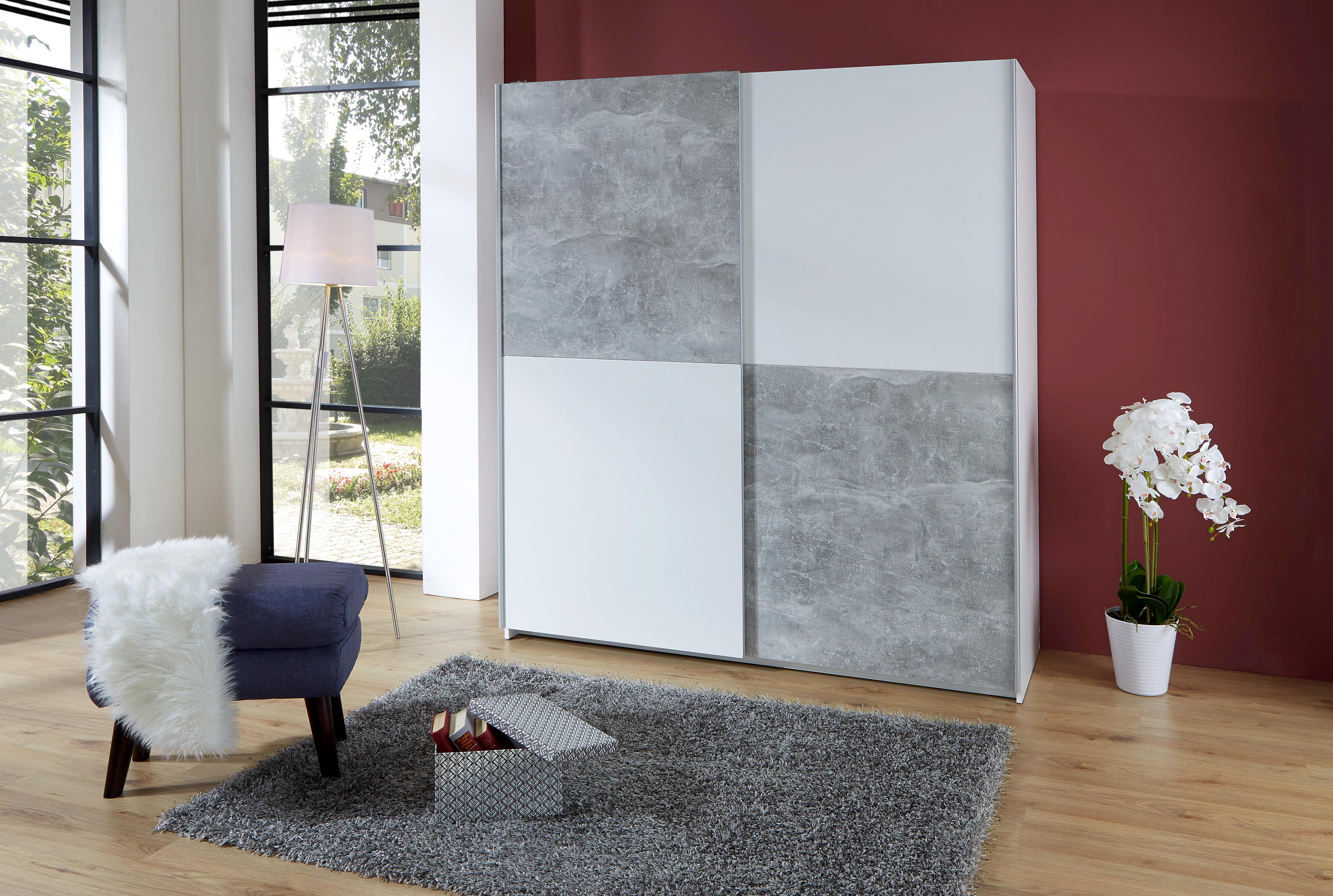 Schwebetürenschrank Basic 3 170cm Weiß/beton Dekor - Hellgrau/Weiß, KONVENTIONELL, Holzwerkstoff (170/195/60cm)