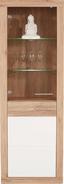 Vitrína Malta - bílá/barvy dubu, Moderní, dřevěný materiál/sklo (63,9/196,6/34,9cm)
