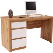 Písací Stôl Kashmir New Kab01 - farby dubu/biela, Moderný, kompozitné drevo (152/78/60cm) - James Wood