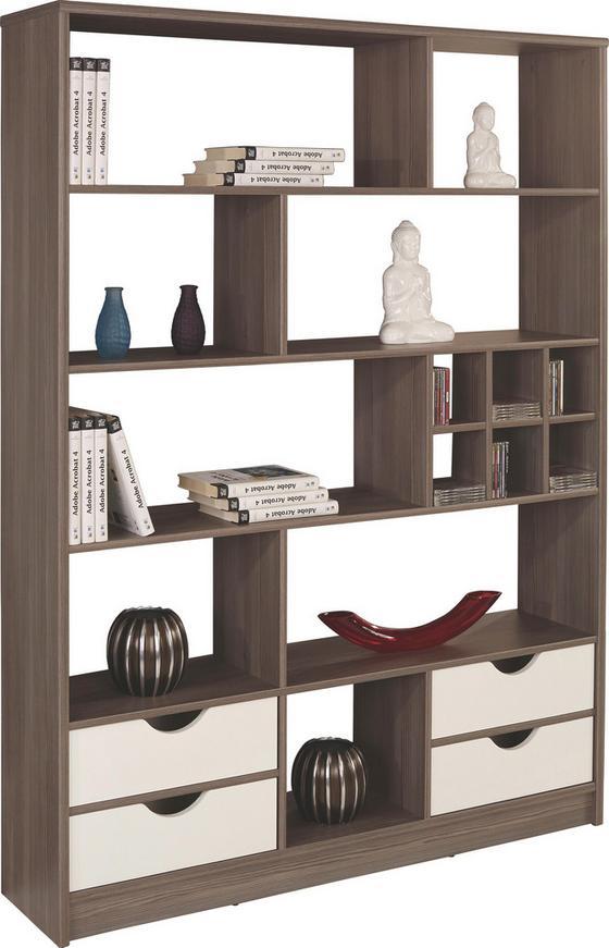 Regál Meggy - bílá/tmavě hnědá, Moderní, dřevo (140/184/32cm)