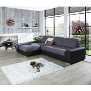 Wohnlandschaft in L-Form Malaga 203x286 cm - Dunkelgrau/Silberfarben, KONVENTIONELL, Holzwerkstoff/Textil (203/286cm) - Ombra